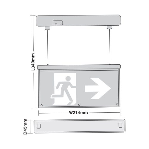 BE3D Green Exit Signs LED EmergencyExit Sign