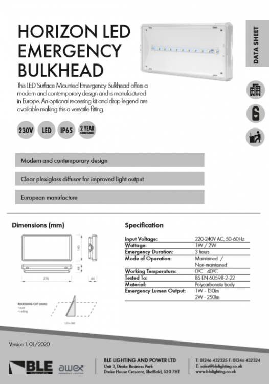 Horizon LED Emergency Bulkhead Data Sheet