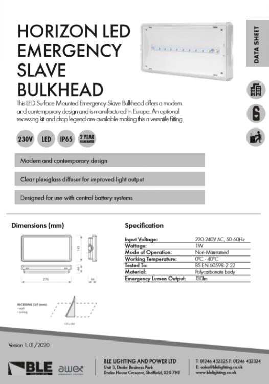 Horizon LED Emergency Slave Bulkhead Data Sheet