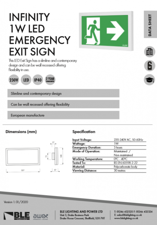 Infinity 1W LED Emergency Exit Sign Data Sheet