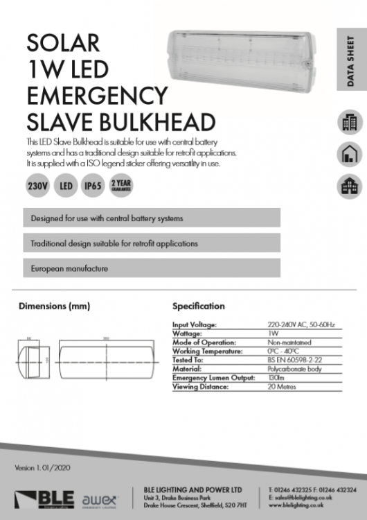 Solar 1W LED Emergency Slave Bulkhead Data Sheet