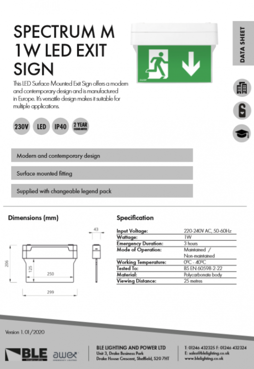 Spectrum M 1W LED Exit Sign Data Sheet