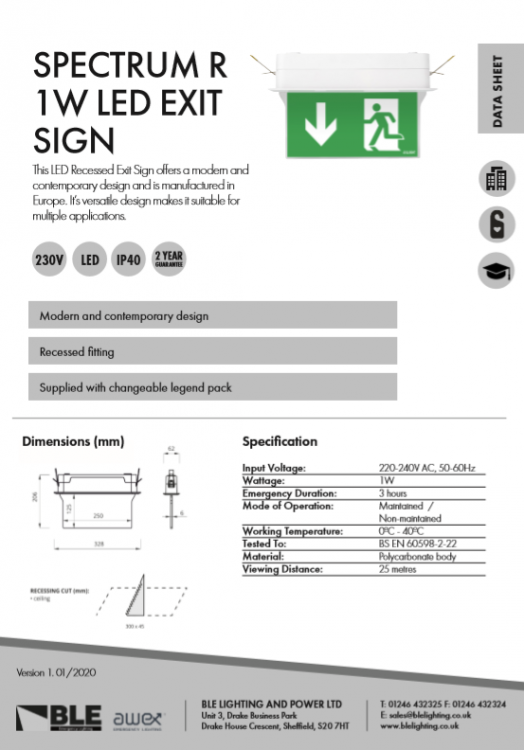 Spectrum R 1W LED Exit Sign Data Sheet